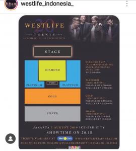 westlife ticket westlife the twenty tour jakarta