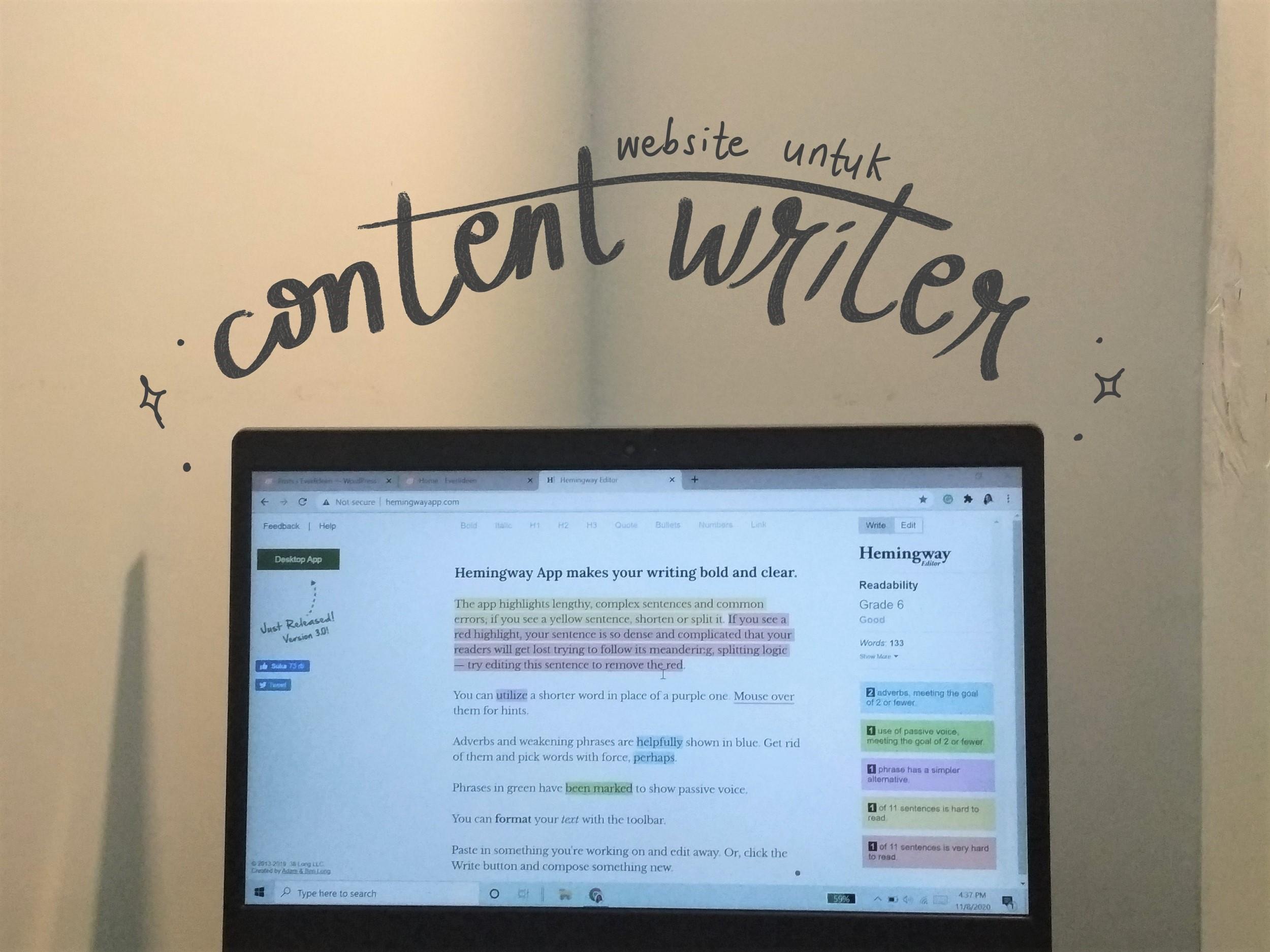 website untuk content writer