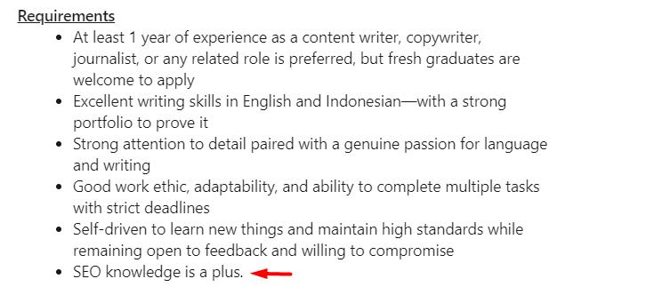 job requirement content writer